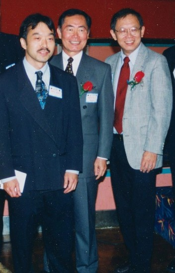 At the 2000 MANAA dinner, Guy Aoki, George Takei and Sam Chu Lin.