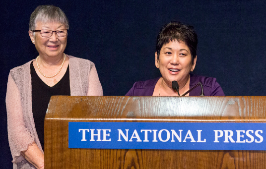 Filmmakers Nancy Araki and Janice Tanaka at the National Press Club.