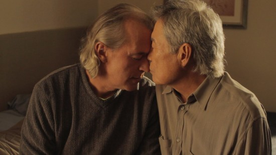 "The marriage of Bud (Steve Alden Nelson) and Hiro (Sab Shimono) is explored in David Au's comedic short ""Family Gathering."""