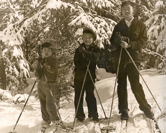 From left: Tom Fukuyama, Bill Tanaka and John Tanaka skiing in Juneau, Alaska in 1938.