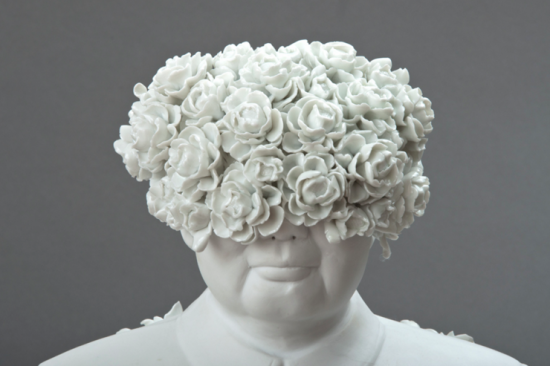 "Keiko Fukazawa; ""Let a Hundred Flowers Bloom""; porcelain and glaze; 17"" x 12"" x 9"""