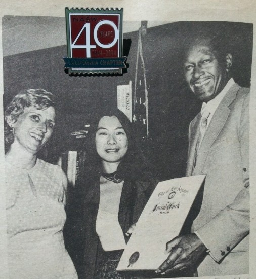 During its 40th anniversary celebration in 2014, the California Chapter of the National Association of Social Workers released this photo of Mariko Yamada, the chapter's newly elected District 11 representative, and Ruth McClellan, a member of the chapter's Nominating Committee, receiving a Social Work Month proclamation from Los Angeles Mayor Tom Bradley in March 1976.