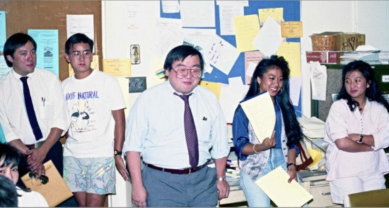 "In May 1989, Don Nakanishi won a three-year battle against UCLA for tenure. After being officially granted tenure at Chancellor Charles Young's office, Nakanishi had a small celebration at the Student/Community Projects office at the Asian American Studies Center in Campbell Hall. It was a victory not only for Nakanishi but also for the field of Asian American studies, as his research was initially considered ""irrelevant"" by his tenure review committee. (Photo courtesy of Gann Matsuda)"