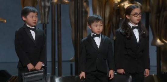 "Three Asian ""accountants"" appeared on stage during the Academy Awards ceremony. (AMPAS)"