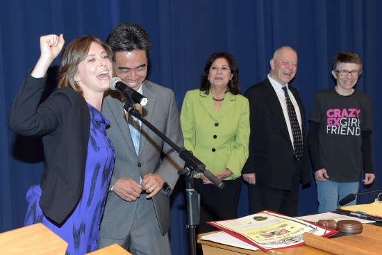 "From left: ""Crazy Ex-Girlfriend"" co-creator and star Rachel Bloom, West Covina Mayor James Toma, Supervisor Hilda Solis, and Bloom's parents, Alan and Shelli Bloom.  (Office of Supevisor Hilda Solis)"