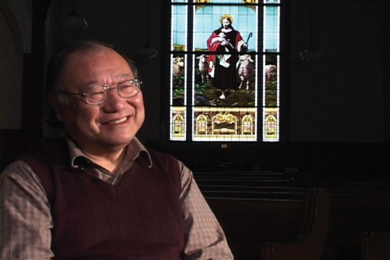 "Rev. Nobuaki Hanaoka in a scene from Lina Hoshino's documentary ""In God's House: Asian American Lesbian and Gay Families in the Church."""