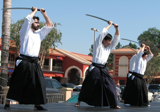 Shinkendo demonstration at last year's West Covina Cherry Blossom Festival. (J.K. YAMAMOTO/Rafu Shimpo)