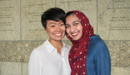 Co-emcee traci ishigo with  Sahar Pirzada of CAIR (Council on American-Islamic Relations), Los Angeles Chapter. (J.K. YAMAMOTO/Rafu Shimpo)