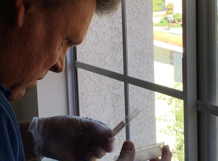 ポーターランチの住民の自宅内で検査を行う当局職員(日比野恭子さん撮影)