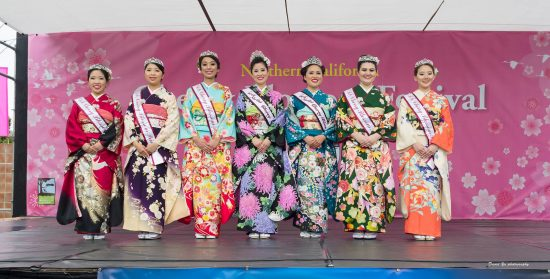 The 2016 Cherry Blossom Court was introduced to the public on April 10 in San Francisco Japantown's Peace Plaza. From left: Princess Nicole Harada, Princess Breana Inoshita, Princess Kyla Kajioka, Queen Samantha Tsukiji, First Princess Marisa Sum, Princess Jan Cash, Princess Kona Kawai (Photo by David Yu)