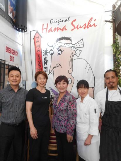 Tony Kim, Naoko Matsumura, Esther Chaing, Masayo Onuki and Than Le of Hama Sushi.