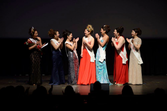 Samantha Tsukiji was applauded by her fellow candidates when she was named this year's Cherry Blossom Queen on April 9 at the Sundance Kabuki Cinema. (Photo by William Lee)