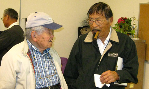 Longtime Japanese American journalists Harry Honda and George Yoshinaga attend the Save the Rafu meeting in 2010. Both have since died.