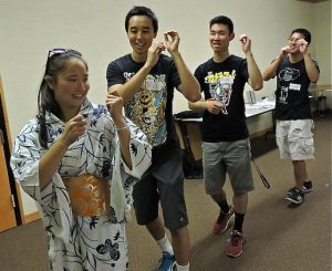 Kase Program participants learning Obon dancing.