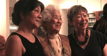 Aiko Herzig Yoshinaga (center) in New York with activist Julie Azuma and artist Tomie Arai.