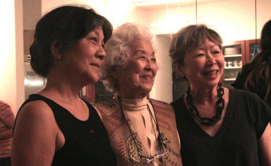 Aiko Herzig Yoshinaga (center) in New York with activist Julie Azuma and artist Tomie Arai.