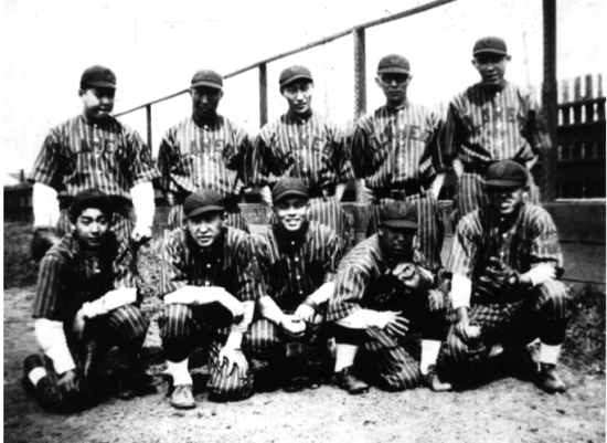 "ATK Baseball Team, 1928. Over the years, America's favorite pastime was warmly embraced by the Japanese American community. The Alameda Taiku Kai, which included star players such as Dick Towata and Shigeshi ""Shug"" Madokoro, was one of the best-loved teams in the community."