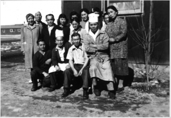 Cooks and kitchen workers from Alameda at Topaz, circa 1943-45.  The majority of Buena Vista church members ended up in the Topaz camp outside of Delta, Utah, where many of them worked together in the block kitchens.