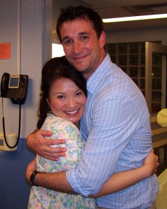 "Lily Mariye with ""ER"" co-star Noah Wylie."