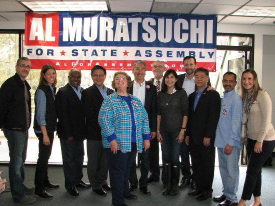 From left: Redondo Beach City Councilmember Christian Horvath, Hermosa Beach School Board member Margaret Bove-LaMonica, West Basin Water District Director Harold Williams, State Treasurer John Chiang, Torrance School Board member Terry Ragins, Al Muratsuchi, Torrance Mayor Pat Furey, Manhattan Beach City Councilmember Amy Thomas Howorth, State Sen. Ben Allen, Rep. Ted Lieu, Hermosa Beach Mayor Pro Tem Hany Fangary, Hermosa Beach City Councilmember Stacey Armato.