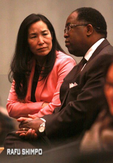 Los Angeles County CEO Sachi Hamai and Supervisor Mark Ridley-Thomas.