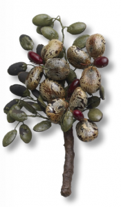 Seeds and beans of every size and color were valued for their craft-making potential. This brooch was made by Bunzo Fujimoto from the seeds of castor bean shrubs that grew wild at Poston, Ariz. People were warned not to eat the seeds, as they were deadly poisonous if ingested. (Photo by Terry Heffernan/Heffernan Films)