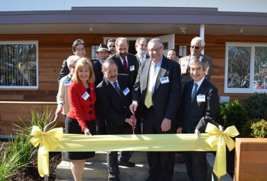 Front row, from left: Rep. Jackie Speier, Kimochi Board President Paul Chin, Lawrence Cappel, board chairman of the Peninsula Health Care District, and Jun Yamada, consul general of Japan in San Francisco. Back row: State Sen. Jerry Hill, San Mateo City Councilmember Rick Bonilla.