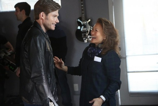 "Lily Mariye on the set of ""Nashville"" with Chris Carmack, who plays rising country star Will Lexington. (Photo by Mark Levine)"
