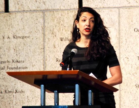 Maytha Alhassen speaks at this year's Day of Remembrance program. (Gann Matsuda/Manzanar Committee)