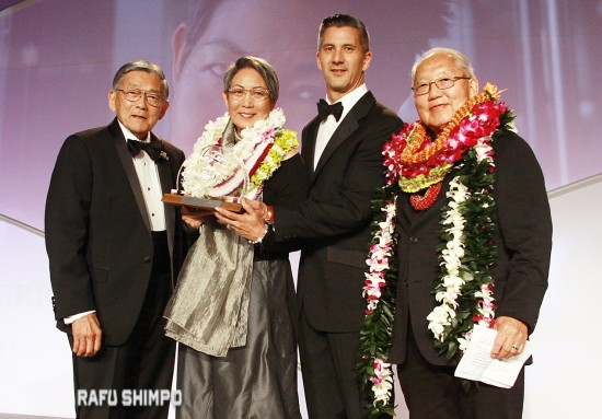 From left: Norman Mineta, chair of the JANM Board of Trustees; honoree Karen Ishizuka; JANM President and CEO Greg Kimura; honoree Robert Nakamura.