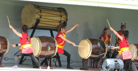 Taiko performance at last year's Cherry Blossom Cultural Festival. (Rafu Shimpo photo)