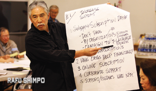 "Steve Nagano takes suggestions to improve The Rafu Shimpo at the ""Save Rafu"" forum held at the Gardena Valley JCI in January 2010. (MARIO G. REYES/Rafu Shimpo)"