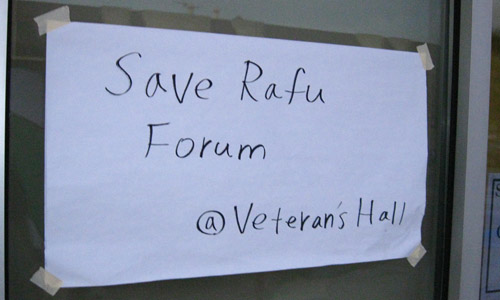 "A sign on the door at the 2010 ""Save the Rafu"" meeting at the Gardena Valley Japanese Cultural Institute."