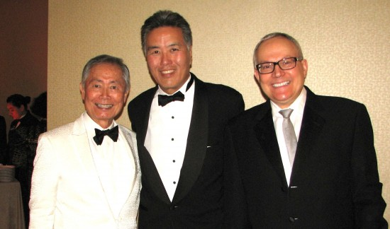 Actor/activist George Takei (left) and his husband Brad (right) meet Rep. Mark Takano (D-Riverside). (J.K. YAMAMOTO/Rafu Shimpo)