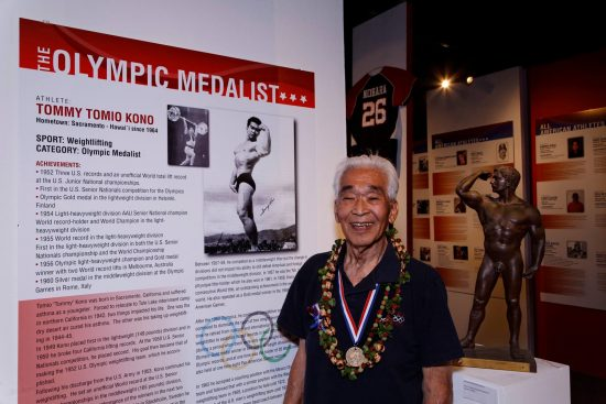 "Tommy Kono at the 2012 exhibition ""Pride of Hawaii: Japanese American Amateur Athletes"" at the Japanese Cultural Center of Hawaii in Honolulu. (JCCH)"