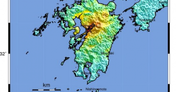 USGS shake map for the April 15 earthquake in Kyushu.