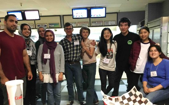 Florin Manzanar Pilgrimage finally bowls in Bishop on April 29. From left: Saad Sweilem, Amara Munir, Danna Elneil, Thoraia Ali, Inyo County Supervisor Jeff Griffiths, son Owen Griffiths, Michelle Huey, a man who joined the group from the Manzanar Pilgrimage, Breana Inoshita, and Blythe Nishi. (Photo by Josh Kaizuka)