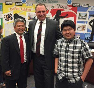 From left: Ken Muraoka, grandson of Saburo Muraoka; Chula Vista Elementary School District Board of Education President Eduardo Reyes; Trevor Muraoka, Ken's 16-year-old son.