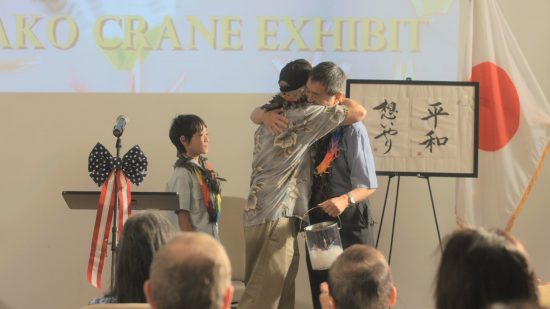 "In a scene from ""Orizuru 2015,"" Sadako's cranes figure prominently in a peace ceremony in Hawaii."