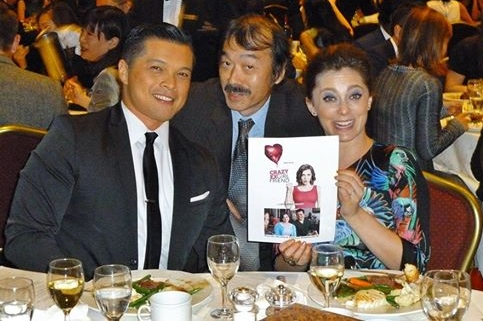 "At the East West Players dinner, Guy Aoki with Rachel Bloom and Vincent Rodriguez III, stars of ""Crazy Ex-Girlfriend."""