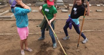 Above and right: Younger generations learn about their heritage by participating in the Japanese Cemetery clean-up.
