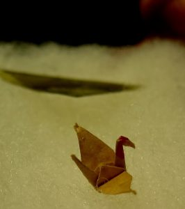 Paper crane folded by Sadako Sasaki.