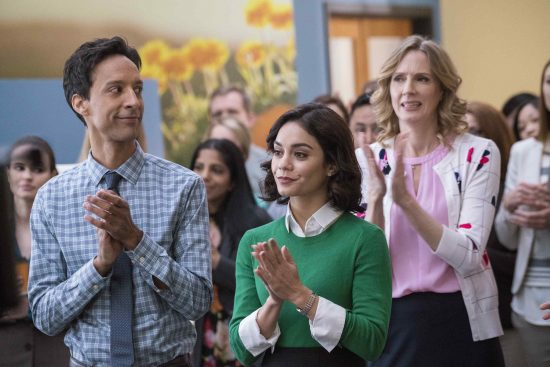 "From left: Danny Pudi as Teddy, Vanessa Hudgens as Emily, Christina Kirk as Jackie in NBC's ""Powerles."" (Photo by Chris Large/NBC)"