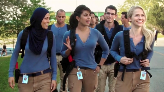 "Priyanka Chopra (center) and some of the cast of ""Quantico."""