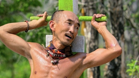 In the immunity challenge, Tai hanging on for dear life.