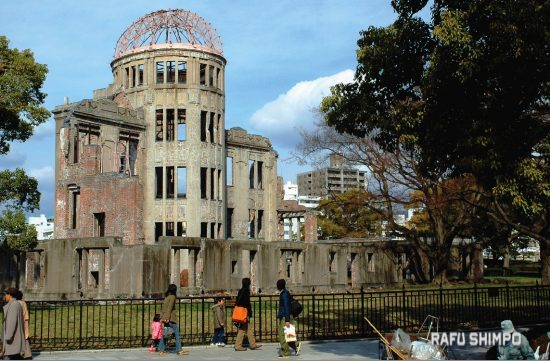 Originally built as the Hiroshima Prefectural Industrial Promotion Hall, the structure now called the Atomic Dome remained after the Aug. 6, 1945 atomic bombing. The postwar municipal government of Hiroshima meant to have it demolished, but a campaign led by a group of high school students convinced many that it should be preserved as a monument to peace and as a reminder of  the horrors of war. (MIKEY HIRANO CULROSS/Rafu Shimpo)