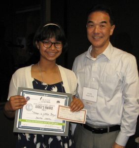Youth runner-up Yuriko Chavez and LTHS President Michael Okamura.
