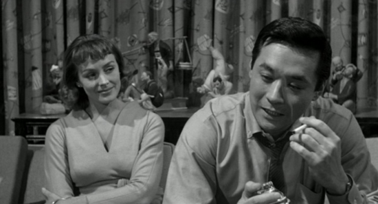 "Victoria Shaw and James Shigeta in a scene from ""The Crimson Kimono."""