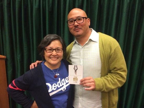 "Naomi HIrahara with ""Big Bachi"" director Derek Shimoda."