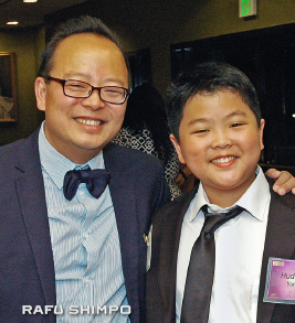 Jeff and Hudson Yang at the East West Players Visionary Awards gala last month. (MIKEY HIRANO CULROSS/Rafu Shimpo(